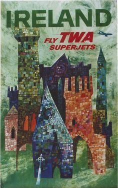 David Klein Ireland TWA travel poster