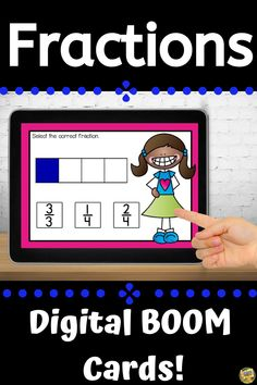This deck of Boom Cards focuses on identifying shaded fractional parts. Each card has a bar model on it focusing on halves, thirds, and fourths. Students will look at the shaded part of each bar model and decide which fraction is correct. This deck is set to randomize and includes many different colors of bar models so students can practice over and over while getting different cards. Fractions Included: ½, 2/2, 1/3, 2/3, 3/3, ¼, 2/4, ¾, 4/4 Math 2, Fun Math, Math Resources, Math Activities, Grade My Teacher, Fraction Bars, Bar Model, Primary Maths, Second Grade Math