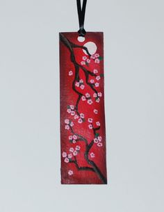 Hand Painted Bookmark : Cherry Blossoms