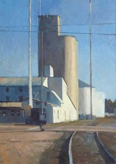 Frank Hobbs - Silo and Rails, Delaware, Ohio oil on canvas 48″ x 36″ 2011