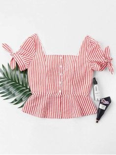 Spring and Summer Striped Short Short Square Fashion Daily Striped Square Neck Blouse Cute Blouses, Blouses For Women, Sweater Fashion, Fashion Pants, Trendy Fashion, Fashion Models, Affordable Fashion, Bodysuit Fashion, Casual Tops For Women
