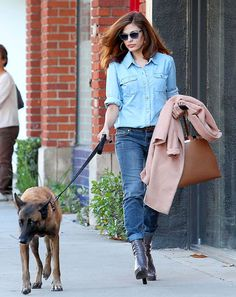 Eva Mendes goes casual for an afternoon walk with her dog after getting her hair done in West Hollywood, Calif.
