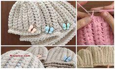 Tığ Örgüsü Bere Modelleri içinden Bere örmek için çok güzel bir model olan Kenar örgülü Fıstık Modelli Kelebek ile süslenmiş Bayan Bere Yapılışı videolu tarifi ile. Yetişkin Bayanlar kadar Genç kız… Crochet Braids, Knit Crochet, Crochet Hats, Beanie, Models, Knitted Hats, Projects To Try, Knitting, Stuff To Buy