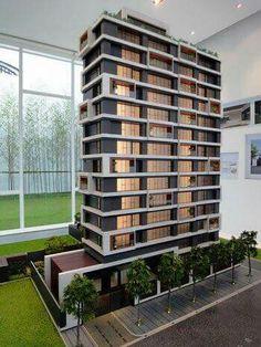 Edificio multifamiliar, maqueta, iluminación