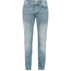 TOPMAN Grey Abrasion Slim Fit Jeans ($49) ❤ liked on Polyvore featuring men's fashion, men's clothing, men's jeans, grey, mens gray jeans, mens slim fit jeans, mens slim jeans, mens button fly jeans and mens slim cut jeans