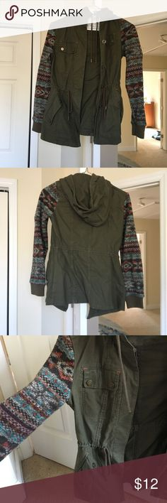Mossimo green jacket with sweater sleeves and hood Mossimo supply co green jacket with sweater sleeves and hood! In good condition, pretty warm nice fit! Mossimo Supply Co. Jackets & Coats