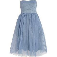 Blue bandeau mesh prom dress