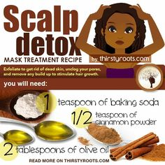 Steps to detoxifying your scalp: To prevent dry hair and scalp, this mask treatment is for a deep clarifying cleanse and should not be used more than once a month. Step 1: Mix all ingredients in a small container Step 2: Part your hair in small sections and apply the mask down each part on the scalp Step 3: Massage the mask into the scalp in a gentle circular motion Step 4: Cover your hair and scalp with a shower cap for 10 -15 minutes Step 5: Shampoo and conditioner your hair as normal For…