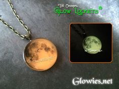 Glowies.net - Harvest Moon Glow in the dark necklace celebrate Harvest or Halloween with this orange glowing full moon necklace!