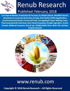 """Corn Starch Market globally will exceed US$ 50 Billion by the end of year 2024. Renub Research report titled """"Corn Starch Market, Production & Forecast, by (Native Starch, Modified Starch, Sweeteners), Countries (Americas, Europe, Asia Pacific, ROW) Applications (Confectionery & Drinks, Processed Food, Corrugating & Paper Making, Feed, Pharmaceuticals & Chemicals, Non-food) Companies"""" studies the global corn starch market and production."""