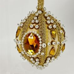 """Vintage Beaded Sequin Faux Gems White Pearls Gold 6"""" Christmas Ornament"""