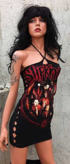 Creepy looking mannequin ( lol), but the dress is SUPER cute & I love Slipknot!!!!!  Slipknot Dress from Threads On Etsy