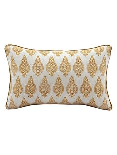 Buy Ivory Mustard Aavrtti Hand Block printed Linen Cushion Cover (20in x 12in) Flax Living Spaces Cushions Pillow Talk Elegant cotton slub casement and covers Online at Jaypore.com