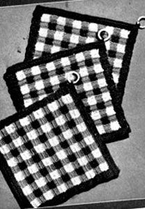 Ravelry: Pot Holder Trio pattern by The Spool Cotton Company Cute Crochet, Vintage Crochet, Crochet Crafts, Crochet Projects, Crochet Ideas, Crochet Potholder Patterns, Crochet Coaster Pattern, Crochet Squares, Black And White Dishes