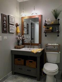 64 inspiring rustic bathroom vanity remodel ideas home decor Bathroom Vanity Makeover, Rustic Bathroom Vanities, Rustic Bathrooms, Grey Bathrooms, Bathroom Storage, Vanity Bathroom, Rustic Vanity, Gray Bathroom Decor, Bathroom Shelves