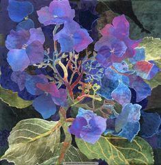 Textile Art   Blue Lacecap Hydrangea 4   Amanda Richardson Artist