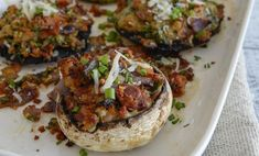 Baked field mushrooms with creamy blue cheese and pancetta Blue Cheese, Vegetable Recipes, Baked Potato, Stuffed Mushrooms, Potatoes, Baking, Vegetables, Ethnic Recipes, Food