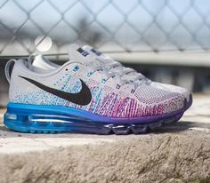 Nike Flyknit Air Max – Wolf Grey / Black – Court Purple – Vivid Blue