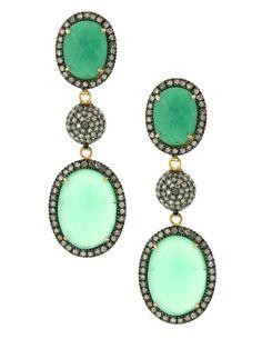 TRIPLE DROP EARRINGS SKU: 120-56534 $1,650.00 14K Yellow Gold and Oxidized Silver Pave Diamonds Chrysoprase Triple Drop Pierced Earrings 2 1/2L X 13/16W jennifer miler 2013  Add Items to Bag
