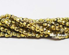 3mm Gold Ore Etched Round Fire Polished @ www.bonbeads.com