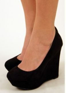 Nectar Per-Suede Me Black Wedges | I need these & a little black dress, please.
