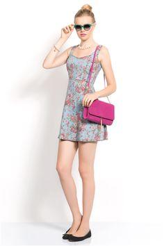 İroni Çiçek Desenli Mini Kot Elbise