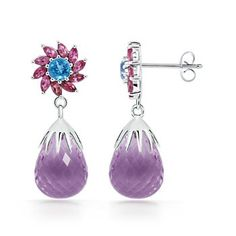 Angara Round Amethyst Drop Earrings in Rose Gold RvqLvn5dxl