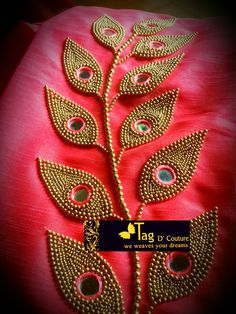 Tag D Couture Edappally,Kerala Peacock Embroidery Designs, Bead Embroidery Patterns, Embroidery Works, Beaded Embroidery, Sari Blouse Designs, Fancy Blouse Designs, Bridal Blouse Designs, Blouse Patterns, Embroidery On Kurtis