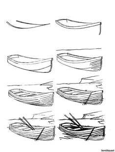 Pencil Drawing Tutorials How to draw a boat step-by-step 12 Pencil Drawing Tutorials, Art Lessons, Art Drawings Simple, Boat Drawing, Art Painting, Sketch Book, Drawing Tutorial, Art Drawings Sketches, Art