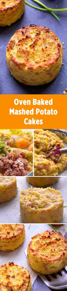 These ham and chive Mashed potato cakes are baked in oven for a result that is crisp in the outside and melting in the inside. eatwell101.com