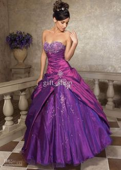 Wholesale - Wedding Bridal Bridesmaid Gown Prom Ball Evening dress purple strapless sexy Tulle appli, Free shipping, $114.24-118.72/Piece | DHgate