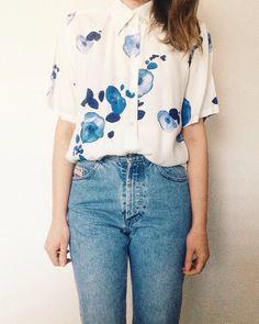 Vintage Bluse mit Blumenprint, 90er Jahren