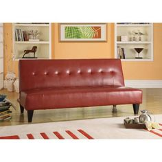 Faux Leather Bycast Adjustable Futon Sofa, Multiple Colors - Walmart.com