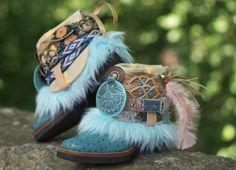 Vintage Blue Upcycled LUXURY Reworked Boho tribal COWBOY ankle BOOTS 7.5 on Etsy, $225.00