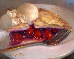"Cherry Pie Ala Mode Dessert Painting 8""x10"" Original Oil on panel by Hall Groat II"