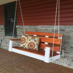 Awesome Farmhouse Porch Swing Decor Ideas What's not to love about a front porch swing? Few things add as much curb appeal, and even fewer do it… Continue Reading → Farmhouse Porch Swings, Farmhouse Front Porches, Outdoor Seating, Outdoor Decor, Outdoor Lighting, Swing Design, Home Furniture Online, Building A Porch, Wooden Swings