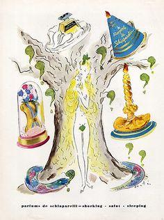 * Shocking, Sleeping, Salut, 1948 Marcel Vertes - parfums Schiaparelli