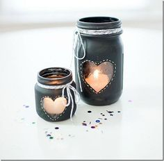 Chalkboard Heart Candles Grab a mason jar, some chalkboard paint (or normal paint if you don't care about writing on it), pretty strin...