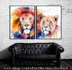 Lion Lioness Love watercolor painting print Lion by SlaviART
