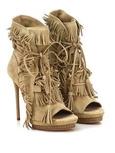 Casadei shoes SS16 · CASADEI - Tronchetto - Donna - Tronchetto open toe in camoscio  con allacciatura frontale e frange d241a0efd4a