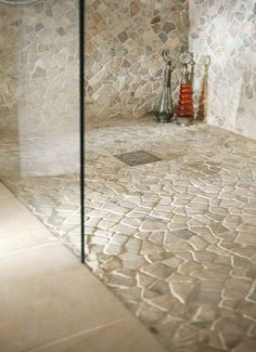 Tumbled marble shower