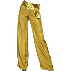 MICHAEL VAN DER HAM Velvet Trim Silk Crepe Trousers - Yellow ($249) ❤ liked on Polyvore featuring pants, bottoms, pantalones, trousers, yellow, michael van der ham, yellow pants and yellow trousers