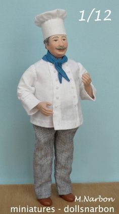 The CHEF, (pastry or cook) 1:12 porcelain doll to order via Etsy
