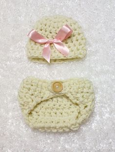 Pink Bow Natural Hat And Diaper Cover Set