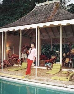Babe Paley's much imitated Jamaican pool cabana circa 1950s