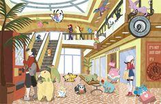 Goldenrod Mall by slimu on DeviantArt Pokemon Steven, 3ds Pokemon, Pokemon Stuff, Pokemon Universe, Pokemon People, Kawaii Illustration, Original Pokemon, Pokemon Special, Pokemon Images
