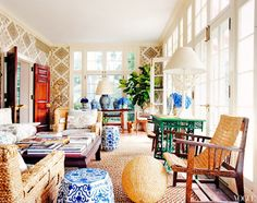 Eclectic sunroom with bold patterns and wallpaper