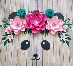 NEW Panda Set available in the Etsy Shop!this one is available and ready to ship! Panda Themed Party, Panda Birthday Party, Panda Party, Bear Party, Diy Birthday, Birthday Party Decorations, Baby Shower Decorations, Birthday Parties, Large Paper Flowers
