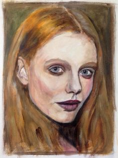 Swedish fashion model Frida Gustavsson, acrylic on paper 40x50