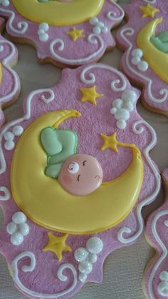 Baby on Crescent Moon decorated sugar cookies for baby shower: Fancy Cookies, Iced Cookies, Cute Cookies, Royal Icing Cookies, Cupcake Cookies, Sugar Cookies, Cupcakes, Baby Girl Cookies, Baby Shower Cookies